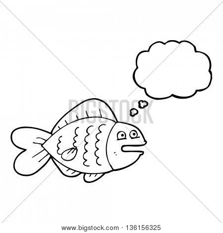 freehand drawn thought bubble cartoon funny fish