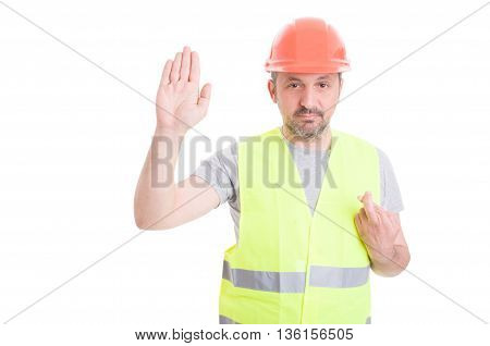 Serious Builder Rising His Right Hand And Swearing False