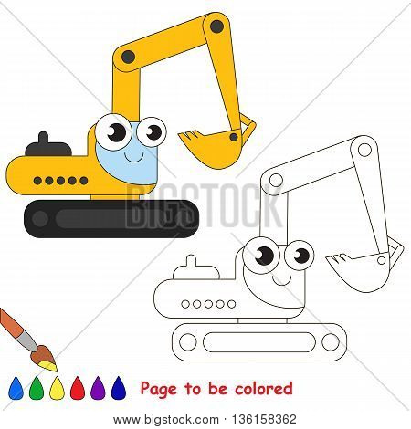 Yellow excavator to be colored. Coloring book to educate kids. Learn colors. Visual educational game. Easy kid gaming and primary education. Simple level of difficulty. Coloring pages.