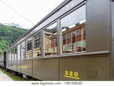 Rustic old train cars near Skagway Alaska