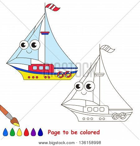 Yellow yacht to be colored. Coloring book to educate kids. Learn colors. Visual educational game. Easy kid gaming and primary education. Simple level of difficulty. Coloring pages.