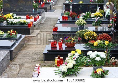 Graves in the cemetery in Zagreb Croatia