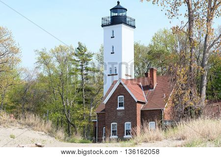 Presque Isle lighthouse, built in 1872, Lake Erie, Pennsylvania, USA