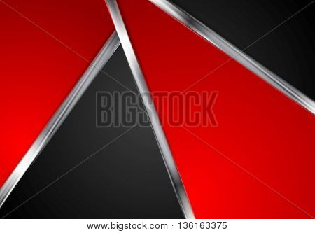 Silver metallic lines, contrast red black tech background. Vector graphic design with metal stripes