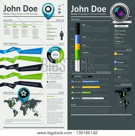Simple vector template for you resume.  Vector EPS 10 file. Transparency used.