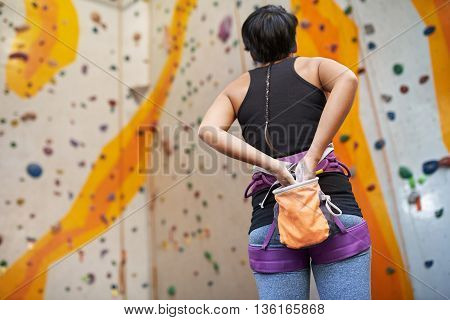 Rear view of female climber getting ready to training