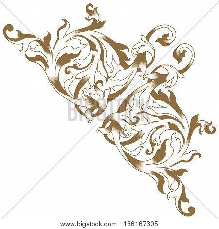 Golden vintage baroque frame scroll ornament , corner ornament, vine ornament, victorian ornament, royal ornament, golden ornament, vintage ornament. Corner decorative. Vector.