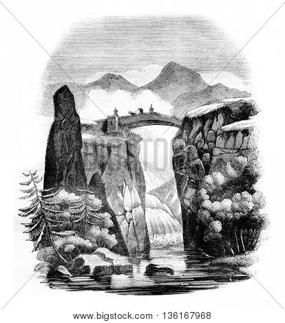 The Briancon bridge over the Durance, department of Hautes-Alpes, vintage engraved illustration. Magasin Pittoresque 1836.
