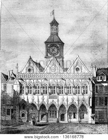 View of the City Hall of Saint Quentin, Aisne department, vintage engraved illustration. Magasin Pittoresque 1836.