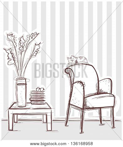 Reading Room Interior With Table And Books.vector Hand Drawing Illustration