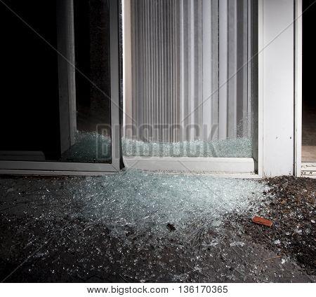 Sliding glass door a criminal shattered to enter a home
