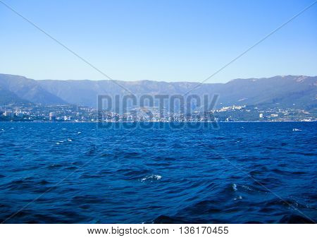 Island of Crimea. Yalta. View from the side of the sea on a hot day