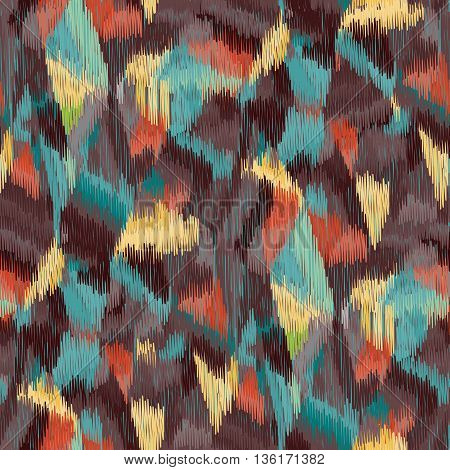 Seamless Ikat Pattern with bright multicolor spots. Abstract background for textile design wallpaper surface textures pattern fills wrapping paper.