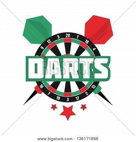 Darts label. Badge Logo. Darts sporting symbols. Darts, dartboard, ribbon for sport, sporting logo and leisure design. Vector Illustration.