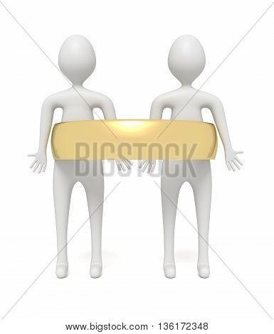 Wedding: two little 3d men in a golden wedding ring 3d illustration