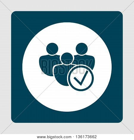 User Accept Icon In Vector Format. Premium Quality User Accept Symbol. Web Graphic User Accept Sign On Blue Background. poster