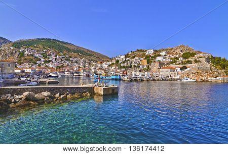 landscape of Hydra island Saronic Gulf Greece