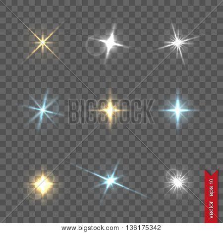 Set of flash lights and shiny glitter, vector illustration
