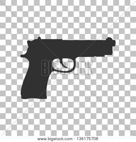 Gun sign illustration. Dark gray icon on transparent background.