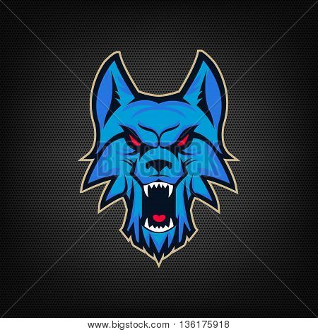 Template of logo with angry wolf head. Emblem for sport team. Mascot. Design elements for logo albel emblem sign. Vector illustration.