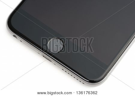 UFA RUSSIA - 26 JUNE 2016: iPhone 6 Plus is a smartphone developed by Apple Inc. iPhone 6 Plus close-up Touch ID