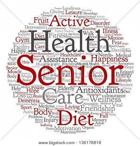 Concept conceptual old senior health, care or elderly people abstract round word cloud isolated on background