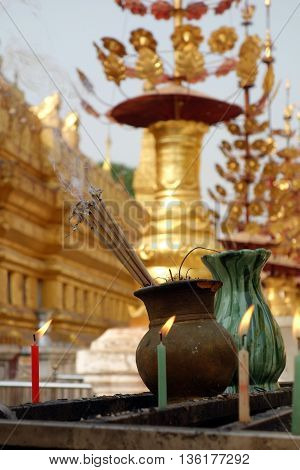 Incense Sticks Burning with Smoke in old temple in Bagab, Myanmar