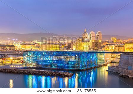 MARSEILLE, FRANCE - MAR 15 : Exterior of MUCEM with Marseille cityscape oni March 15, 2016. This is is a national museum located in Marseille, France.