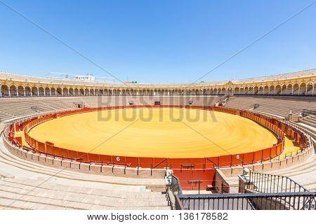 SEVILLE, SPAIN - JUN 4: Shrine in bullfight arena, plaza de toros at Sevilla, Spain on June 4, 2014. This is a 12,000-capacity bullring in Seville, Spain.