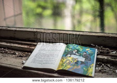 Pripyat, Ukraine - May 29, 2016: opened book in Pripyat school, Chernobyl, Ukraine