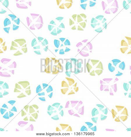 Colorful broken plates. Quarrel backdrop. Seamless pattern. Pieces of porcelain. Family bickering. Endless texture, plain background.