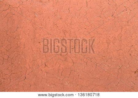 Texture cracked clay surface. Ksar Ait Ben Haddou, Morocco