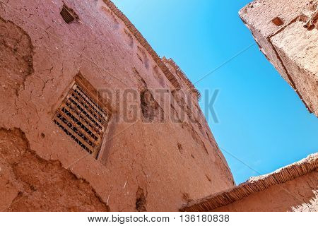 A fragment of Kasbah Ait Benhaddou, Morocco.Ouarzazate, Morocco