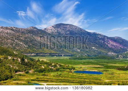 Landscape view of Neretva river delta in Croatia.