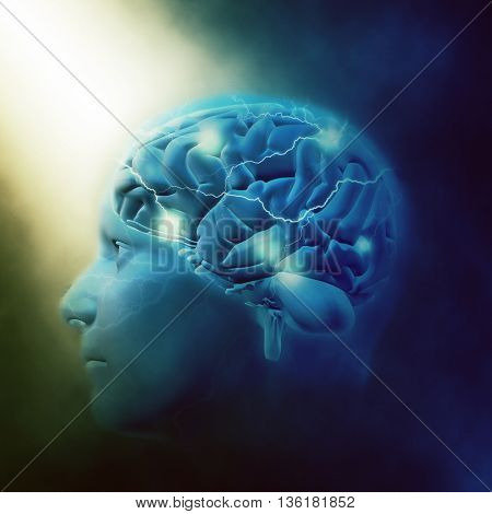 3D render of a male head with brain and lightening effect