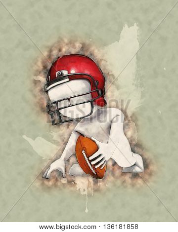 3D Render of Morph Man playing american football with watercolor effect