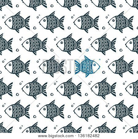 Vector seamless pattern with grunge hand drawn fishes and one opposite blue fish