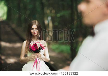Beautiful bride posing near rocks with beautiful views.