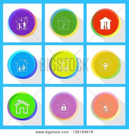 9 images: workshop, flower shop, home affiance, pharmacy, family home, home work, bank. Home set. Internet template. Vector icons.