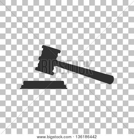 Justice hammer sign. Dark gray icon on transparent background.