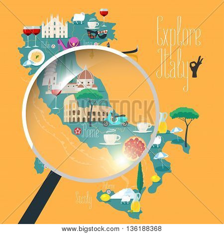 Map of Italy vector illustration, design. Icons with Italian Colosseum, pasta, gondola, cathedral. Sicilia and Sardinia islands. Explore Italy concept image