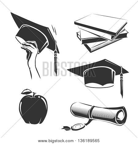Vector elements for vintage graduation labels, badges and emblems. Education graduation, education college or university,  hat or cap academic education illustration