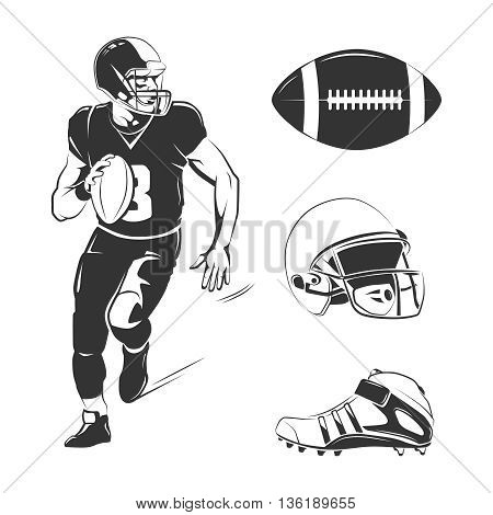 Vector elements for american football labels, logos, badges and emblems. Football american sport, competition rugby, american football equipment illustration