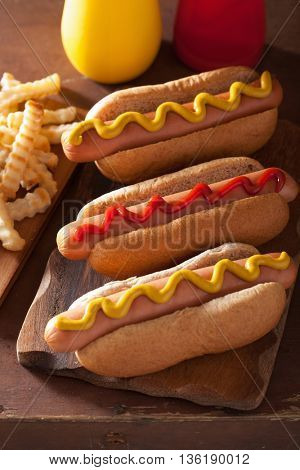 grilled hot dogs with mustard ketchup and french fries