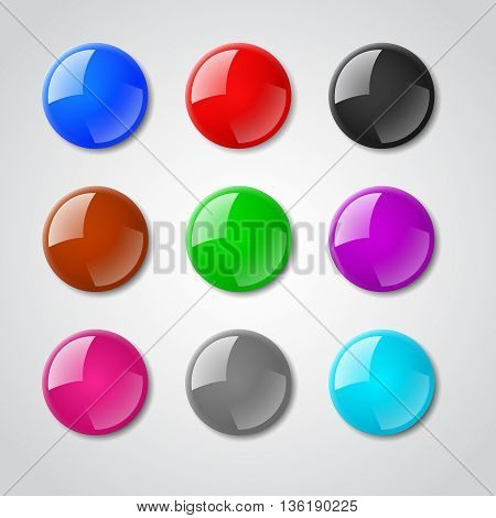 Color pin magnet vector set. Button pin magnet, reflection pin magnet, element pin magnet set illustration