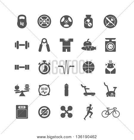 Fitness, sports, gym vector black icons set. Sport gym icon, fitness sport icon, dumbbell and sport diet, health activity icon illustration