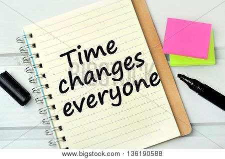 Text Time changes everyone on notebook page