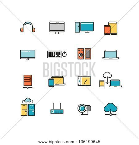 Home and office appliances. Personal electronics and multimedia devices. Linear vector color icons set. Multimedia electronic device, home digital device multimedia, multimedia device illustration
