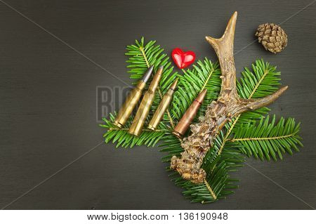 Roe deer antler and needles. Sales of hunting needs. Invitation to the hunting season. Advertising on hunting cartridges. Diploma for hunters. Place for your text.