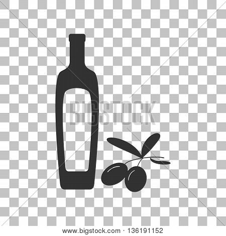 Black olives branch with olive oil bottle sign. Dark gray icon on transparent background.